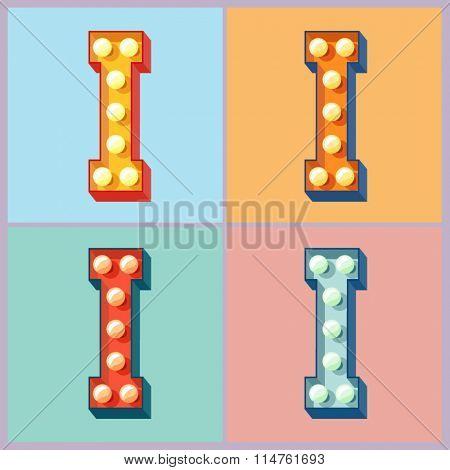 Vector  light up colorful flat lamp alphabet. Letter I