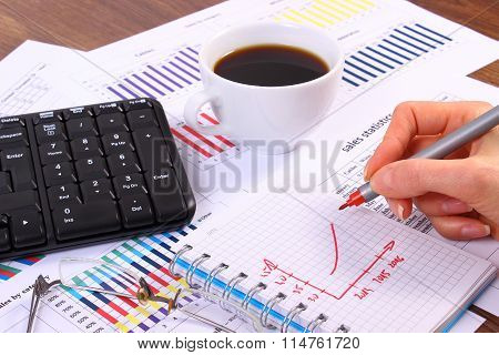 Analysis Of Sales Plan, Computer Keyboard And Cup Of Coffee, Business Concept