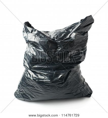 Filled black plastic garbage bag isolated