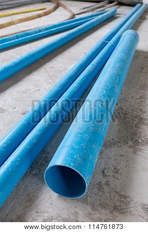 Water Pipes Pvc Plumbing In Construction Site Building