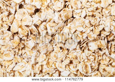 Dry Oat Flakes Close Up