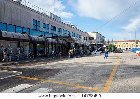 VERONA, ITALY - SEPTEMBER 12, 2014: railway station  of Verona. Verona is a city straddling the Adige river in Veneto, northern Italy