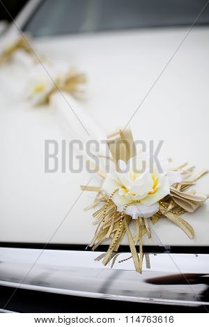 Wedding Decorations Flowers On A White Car
