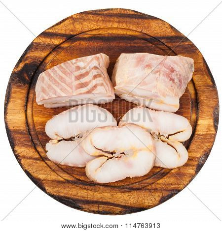 Top View Of Hot Smoked Sturgeon On Board Isolated