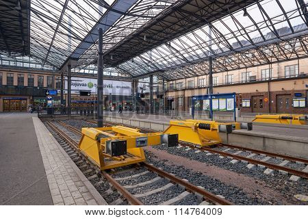 HELSINKI, FINLAND - SEPTEMBER 21, 2014: platform of Helsinki Central railway station. It is the focal point of public transport in the Greater Helsinki area.