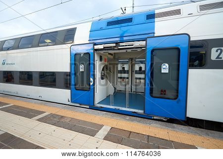 VENICE, ITALY - SEPTEMBER 12, 2014: train at Venezia Santa Lucia. Venezia Santa Lucia is a terminal railway station serving the city of Venice, Italy