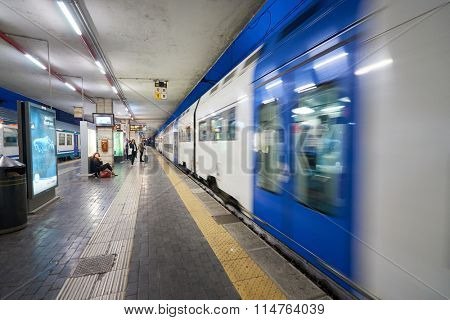 PADUA, ITALY - SEPTEMBER 12, 2014: Padua railway station at night. Padua is a city and comune in Veneto, northern Italy