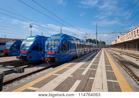 VENICE, ITALY - SEPTEMBER 13, 2014: train at Venezia Santa Lucia. Venezia Santa Lucia is a terminal railway station serving the city of Venice, Italy