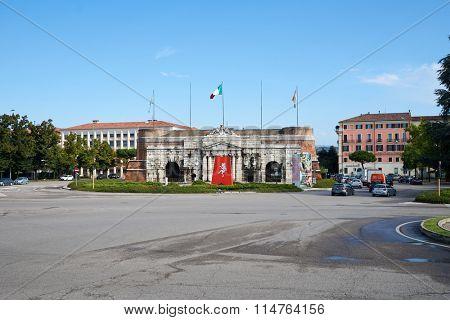 VERONA, ITALY - SEPTEMBER 12, 2014: streets of Verona. Verona is a city straddling the Adige river in Veneto, northern Italy