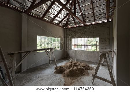 Residential Building Construction Site With Cement Concrete Wall And Roof Steel Beam