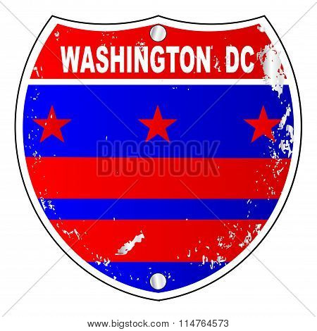 Washington Dc Flag Icons As Interstate Sign