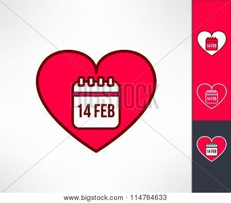 Set of vector valentines hearts with calendar reminder symbol inside. Love and romance design elemen