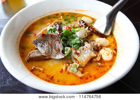 Pork Noodle Tom Yum ,thai Food.