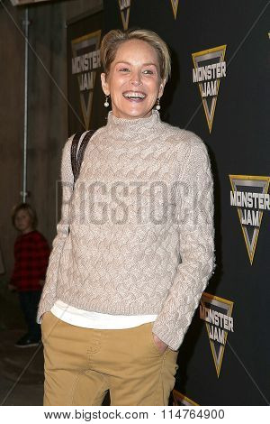 LOS ANGELES - JAN 16:  Sharon Stone at the Monster Jam Celebrity Night at the Angels Stadium on January 16, 2016 in Anaheim, CA