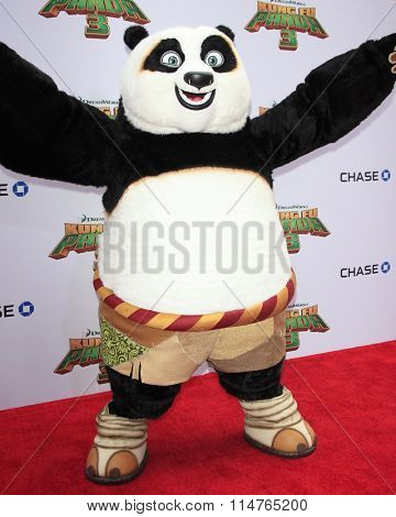 LOS ANGELES - JAN 16:  Po, Animated Character at the Kung Fu Panda 3 Premiere at the TCL Chinese Theater on January 16, 2016 in Los Angeles, CA