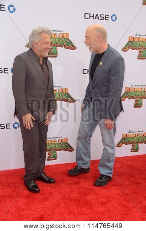 LOS ANGELES - JAN 16:  Dustin Hoffman, JK Simmons at the Kung Fu Panda 3 Premiere at the TCL Chinese Theater on January 16, 2016 in Los Angeles, CA