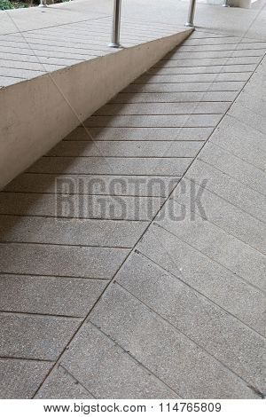 Ramp Way For Support Wheelchair Disabled People Made From Sand And Small Gravel Stone Washed Floor