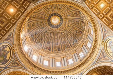 Vatican - September 11, 2015: Inside the St. Peter's Basilica. St. Peter's Basilica is one of the main tourist attractions of Rome.