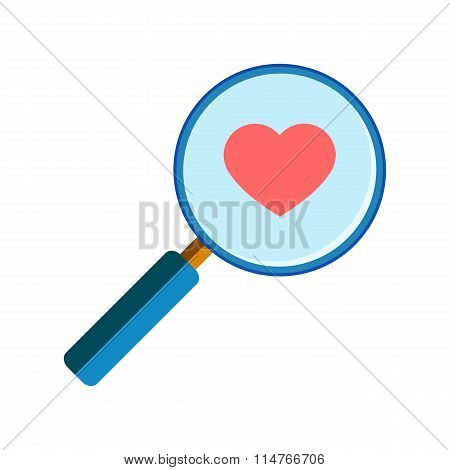 Magnifying glass with red heart