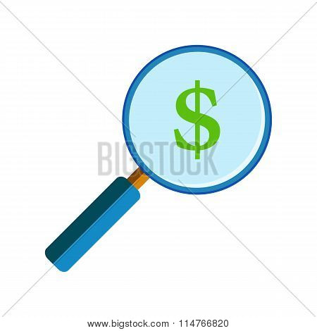 Magnifying glass with dollar sign
