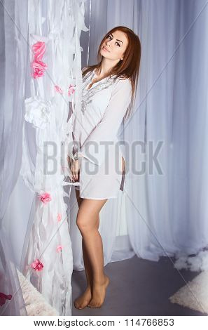 Beautiful woman in white dress