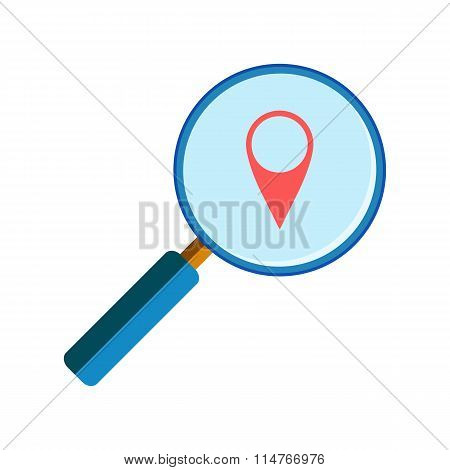 Magnifying glass with geo pin