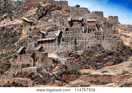 Inca ancient fortress in the mountains