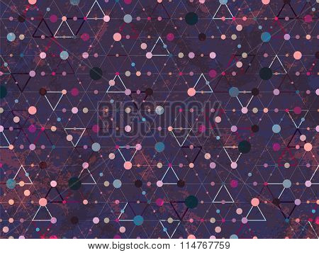 Abstract Triangle Background Dots Web Texture Dark