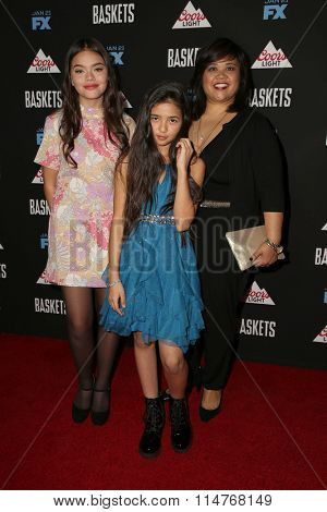 vLOS ANGELES - JAN 14:  Malia Pyles, Julia Gruenberg, Ellen D. Williams at the Baskets Red Carpet Event at the Pacific Design Center on January 14, 2016 in West Hollywood, CA