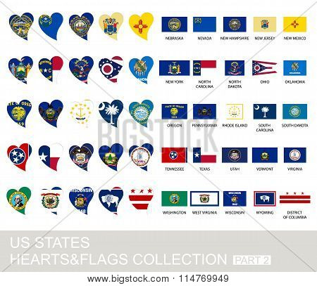 Us States Set, Hearts And Flags, Part 2