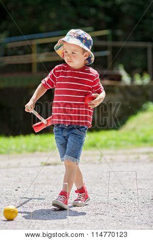 Cute Boy, Playing Croquet