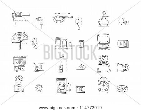 Sketch icons vector collection for metrology