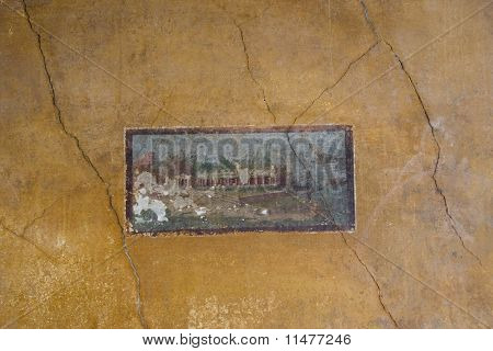 Roman art from Pompeii : antique ornate wall with landscape