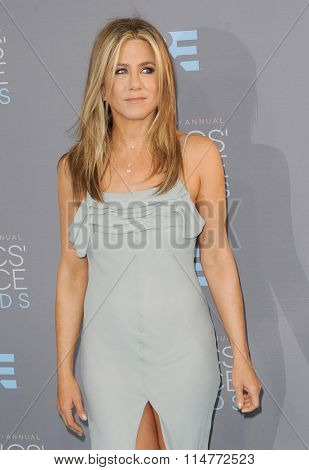 Jennifer Aniston at the 21st Annual Critics' Choice Awards held at the Barker Hangar in Santa Monica, USA on January 17, 2016.
