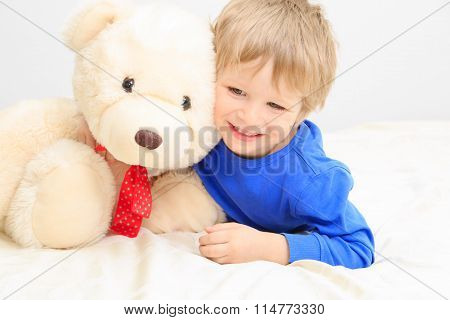 cute little boy with teddy bear