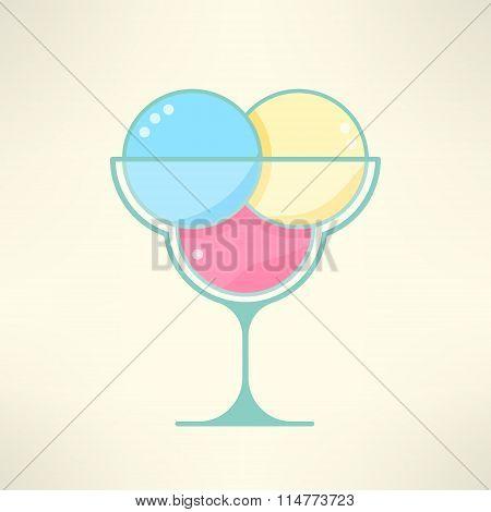 Vector ice cream cup in modern colorful cartoon flat design. Bright ice cream dessert symbol