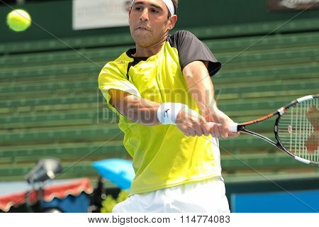 Marcos Bahdatis of Cyprus high backhand