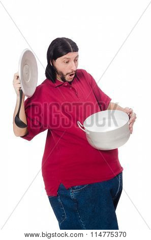 Obese man isolated on the white