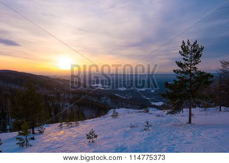 Beautiful cold sunset