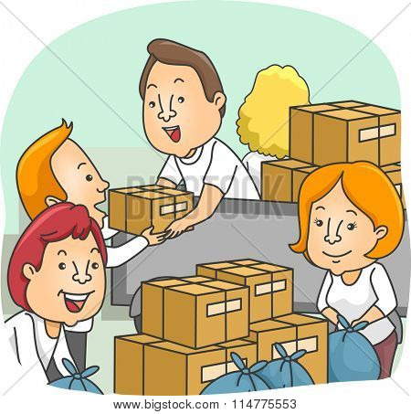 Illustration of Volunteers Packing Donation Boxes