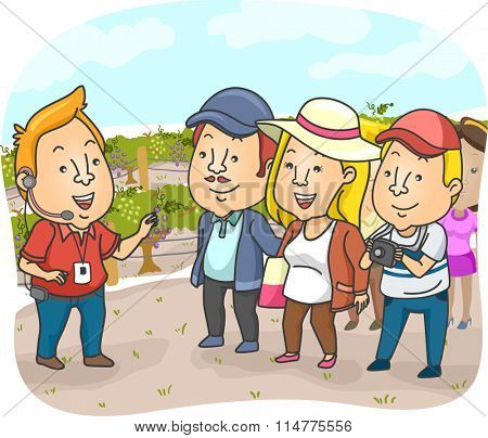 Illustration of a Tour Guide Delivering a Spiel in a Vineyard