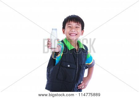 Close Up Boy Smiling And Showing Bottle Of Milk, Isolated On White.