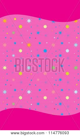 Colorful Stars on Rose Background Vector
