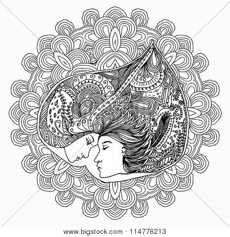 Raster kissing couple in doodle style on doodle background