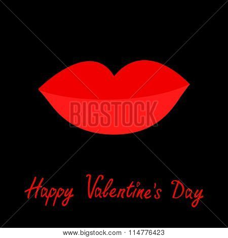 Happy Valentines Day. Love Card. Big Full Thick Red Lips On Black Background. Isolated Flat Design