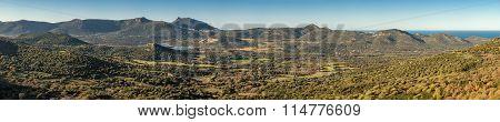 Panoramic Of Reginu Valley In Balagne Region Of Corsica