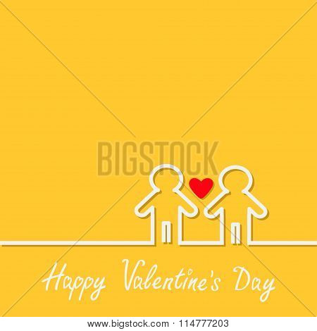 Happy Valentines Day. Love Card. Gay Marriage Pride Symbol Two Contour Man Sign Lgbt Icon White Line