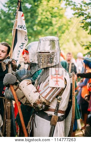 Warrior Knight participant of estival of medieval culture