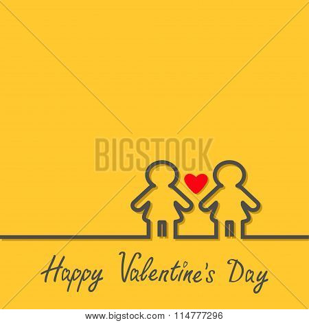 Happy Valentines Day. Love Card. Gay Marriage Pride Symbol Two Black Contour Women Line Sign With Re