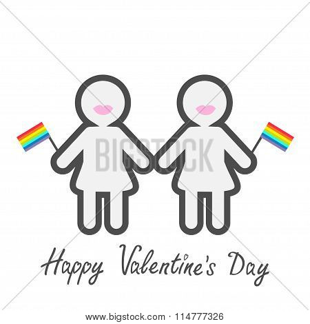 Happy Valentines Day. Love Card. Gay Marriage Pride Symbol Two Contour Women With Lips And Flags Lgb